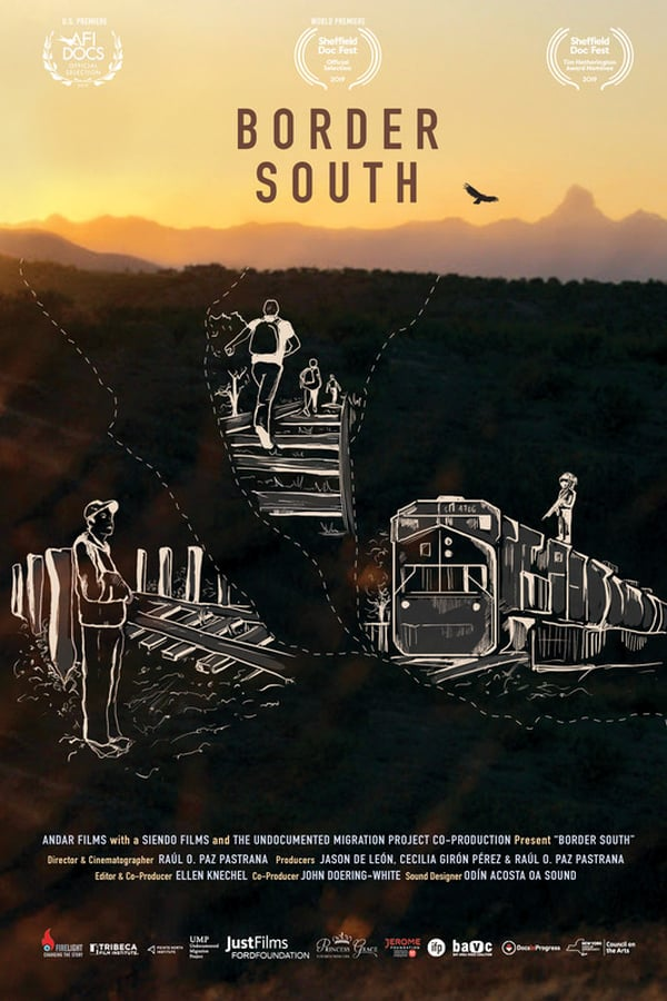 the film poster for Border south featuring white illustrations depicting immigrants journeys on top of a picture of the U.S. Mexico border at sunset.