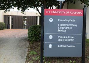The exterior sign for the counseling center outside of the South Lawn Office Building