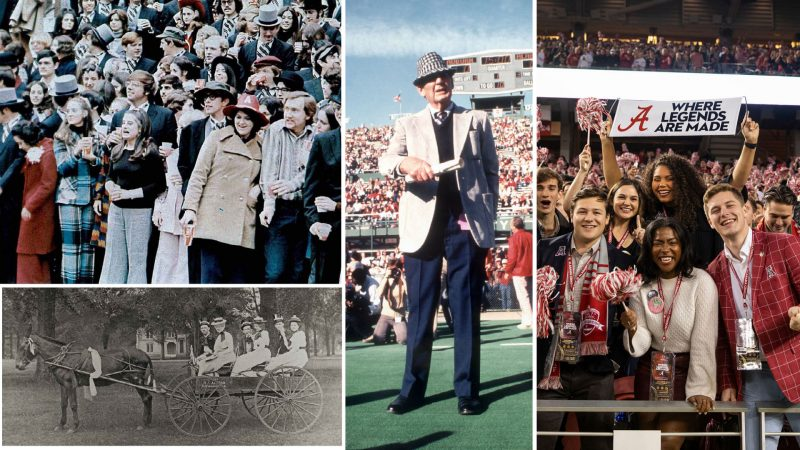 a college of photographs showing different decades of clothing worn for game day