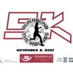 The Moundville 5K logo that includes a person running and the date