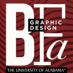 """On a crimson background, the letter BFA are shown in white type, as well as the words """"graphic design."""" This was the announcement image of the new program."""