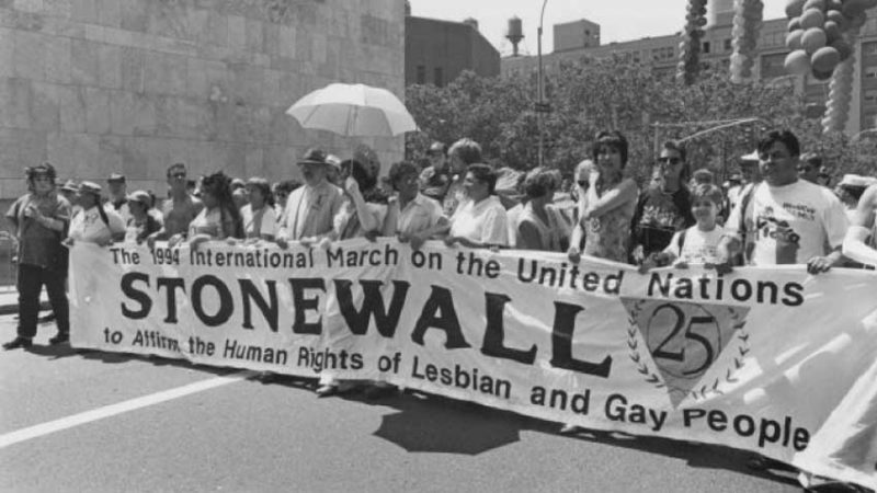 Black and white photo of gay rights activists in the 1960s