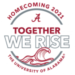 """A white logo with the word's """"Together We Rise"""" written out over a crimson wave."""